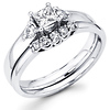 Three Stone Princess & Round Diamond Engagement Ring Set (0.50 ctw)