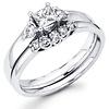 14K White Gold Princess Cut Diamond Engagement Ring Set 0.50 ctw
