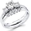 Modern 14K Three Stone Diamond Engagement Ring Set