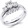 Three Stone Round Diamond Engagement Wedding Ring Set (0.85 ctw)