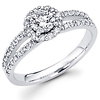 14K Round Diamond Split Shank Designer Halo Engagement Ring (0.80 ctw)