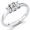 Three Stone Emerald Cut Diamond Engagement Ring 0.52 ctw