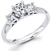 14K Round Diamond Three Stone Engagement Ring (0.71 ctw)
