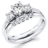 Three Stone Round Diamond Bridal Wedding Ring Set (0.75 ctw)
