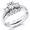 Three Stone Round Diamond Bridal Wedding Ring Set 0.75 ctw