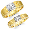 14K Two Tone Diamond Couples Matching Wedding Band Set