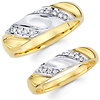 Diamond 14K Two Tone Bride & Groom Matching Wedding Bands