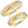 14K Matching His & Hers Diamond Two Tone Wedding Band Set