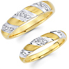 Diamond 14K Two Tone Striped Matching Wedding Band Set