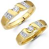 Round Diamond Center 14K Two Tone Matching Couples Ring Set