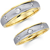 Three Stone 14K Two Tone Diamond Wedding Band Set