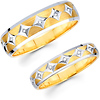 Carved Designer Pattern 14K Round Diamond Wedding Band Set