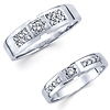 Matching 14K White Gold Diamond Designer Couples Wedding Band