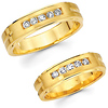 14K Yellow Gold Channel Set Diamond His and Hers Wedding Band