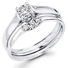 14K White Gold Diamond Solitaire Bridal Ring Set 0.40 ctw
