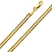 14K-18K Yellow Gold Concave Curb Chain 4.5mm