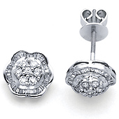 Floral 14K White Gold Diamond Stud Earrings