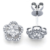 18K Flower Diamond Earrings .50ctw