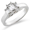 Three Stone Emerald Cut Diamond Engagement Ring 0.75 ctw