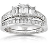 3 Stone Emerald Cut Engagement Ring Set (2.00 ctw)