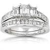 3 Stone Emerald Cut Diamond Engagement Ring Set