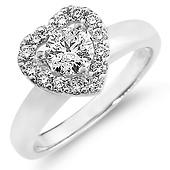 14K Round Diamond Heart Promise Ring (0.75 ctw)