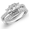 14K 3 Stone Princess Engagement Ring Set (1.17 ctw)