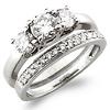 3 Stone 14K Round Cut Diamond Engagement Ring Set 0.85 ctw