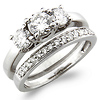 3 Stone 14K Round Cut Engagement Ring Set (0.85 ctw)