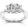 14K White Gold Three Stone Emerald Cut Diamond Engagement Ring