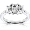 14K White Gold Three Stone Emerald Cut Diamond Engagement Ring