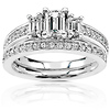 14K White Gold Emerald Cut Engagement Ring Set (1.00 ctw)