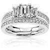 Stunning 14K White Gold Emerald Cut Engagement Ring Set 1.00 ctw