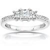 3 Stone Princess Cut 14K White Gold Diamond Engagement Ring 1.05 ctw