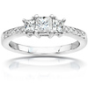 3 Stone Princess Cut 14K White Gold Diamond Engagement Ring 1.05 ctw