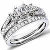Chic 3 Stone Princess Cut Diamond Wedding Ring Set