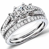 3 Stone Princess Cut Fancy Wedding Ring Set (1.00 ctw)