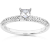 Asscher Cut Pave 14K White Gold Diamond Engagement Ring 0.75 ctw