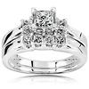 Three Stone 14K White Gold Princess Cut Diamond Engagement Ring Set 0.85ctw