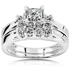 14K White Gold 3 Stone Princess Cut Engagement Ring Set (0.85 ctw)