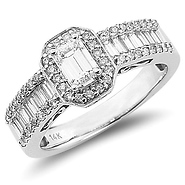 Emerald Cut Fancy Engagement Ring at GoldenMine