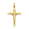 Slender Tapered Medium 14K Yellow Gold Italian Crucifix
