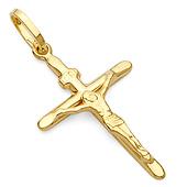 14K Yellow Gold Small Crucifix Pendant 17x33mm