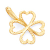 Four Leaf Clover 14K Yellow Gold Pendant Charm