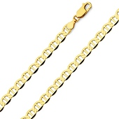 5.5mm 14K Yellow Gold Men's Flat Mariner Chain Necklace 20-24in