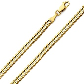 14K Yellow Gold Concave Curb Chain Necklace 4mm