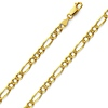 4.5mm 14K Gold Yellow Pave Figaro Chain