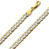 Men's 14K Two Tone Gold Concave Curb Chain Necklace 7mm