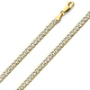 4mm White Pave Curb Cuban Link 14K Two Tone Gold Chain Necklace
