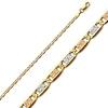 2mm 14K Tri Color Gold Valentino Chain